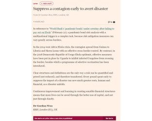 Supress A Contagion Early To Avert Disaster - FT
