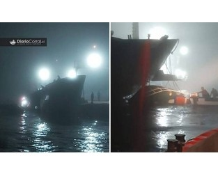 ​  Cargo ship trampled down fishing vessel, trapping inside 6 fishermen - FleetMon