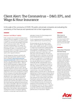 Client Alert: The Coronavirus – D&O, EPL, and Wage & Hour Insurance