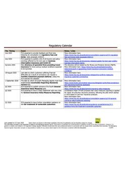 Regulatory Calendar - updated 23 June 2020