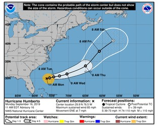 Hurricane Humberto forecast to near Bermuda as strong storm