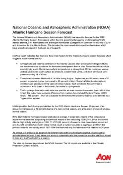 National Oceanic and Atmospheric Administration (NOAA) Atlantic Hurricane Season Forecast