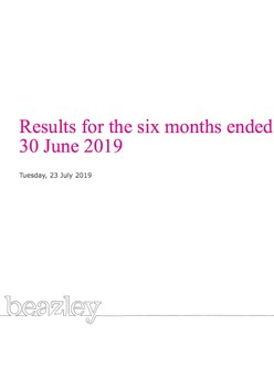 Results for the six months ended 30 June 2019