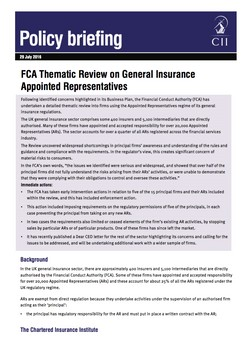 FCA Thematic Review on General Insurance Appointed Representatives