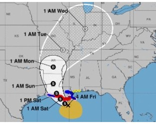 Past Louisiana Cat 1 storm losses average under $1bn