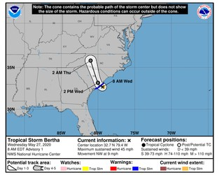 Tropical storm Bertha forms as second pre-season storm of 2020