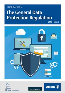 A BIBA Brokers' Guide to The General Data Protection Regulation