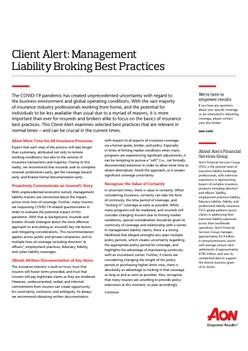 Client Alert: Management Liability Broking Best Practices