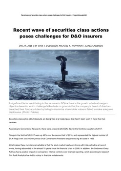 Recent wave of securities class actions poses challenges for D&O insurers