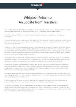 Whiplash Reforms: An update from Travelers