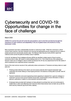 Cybersecurity and COVID-19: Opportunities for change in the face of challenge