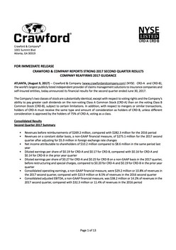 Crawford & Company reports strong 2017 second quarter results