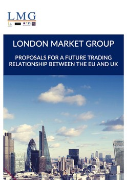 Proposals For A Future Trading Relationship Between The EU and The UK