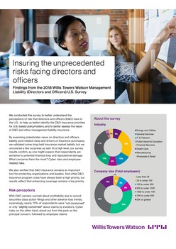 Insuring the unprecedented risks facing directors and officers