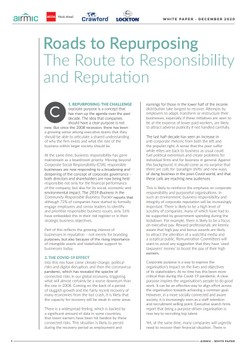 Roads to Repurposing The Route to Responsibility and Reputation