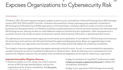 Vulnerability in Microsoft Exchange Exposes Organizations to Cybersecurity Risk