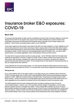 Insurance broker E&O exposures: COVID-19