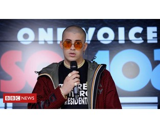 Bad Bunny stops tour to protest in Puerto Rico - BBC News