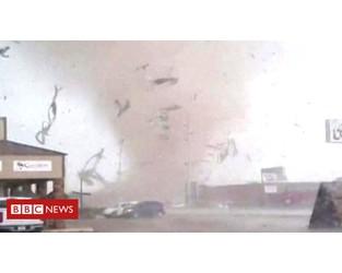 Close-up footage of Arkansas tornado - BBC