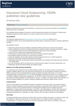 Insurance Cloud Outsourcing: EIOPA publishes new guidelines
