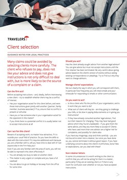 Risk management when selecting clients