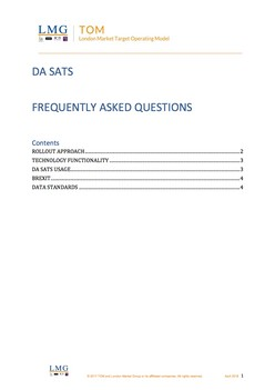 LMG TOM: DA SATS - Frequently Asked Questions