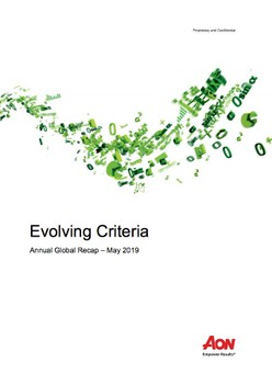 Evolving Criteria Annual Global Recap – May 2019