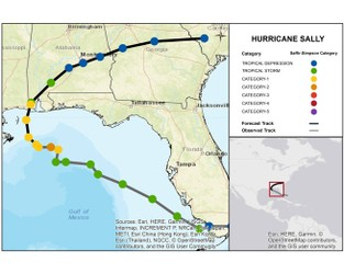 Hurricane Sally on Final Approach to Central Gulf Coast