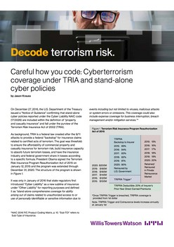 Careful how you code: Cyberterrorism coverage under TRIA and stand-alone cyber policies