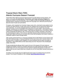 Latest Tropical Storm Risk Atlantic Hurricane Season Forecast