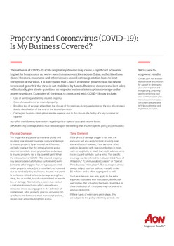 Property and Coronavirus (COVID-19): Is My Business Covered?