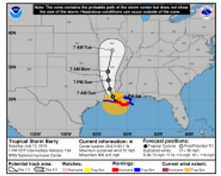 Barry Upgraded to Hurricane Status While Moving Ashore