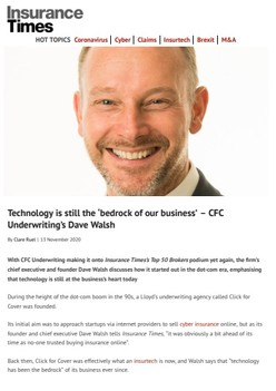 Technology is still the 'bedrock of our business' – Dave Walsh - Insurance Times
