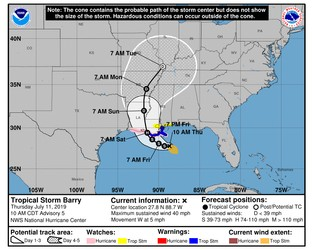 Tropical storm Barry forms. Torrential rain forecast, possible hurricane winds