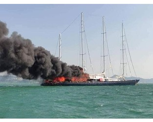 Seven crew rescued from 75m Enigma (ex. Phocea) yacht fire in Malaysia - Superyacht Times