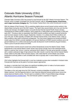 Colorado State University (CSU) Atlantic Hurricane Season Forecast