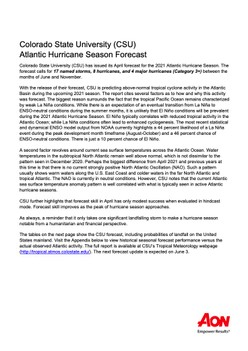 Colorado State University (CSU) Atlantic Hurricane Season Forecast