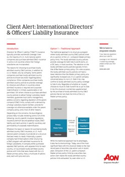Client Alert: International Directors' & Officers' Liability Insurance