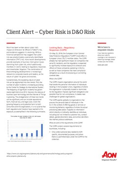 Client Alert – Cyber Risk is D&O Risk