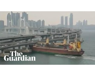 Russian cargo ship crashes into bridge in South Korea - YouTube