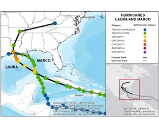 TS Marco to Weaken, TS Laura to Strengthen on path to Gulf Coast Landfall