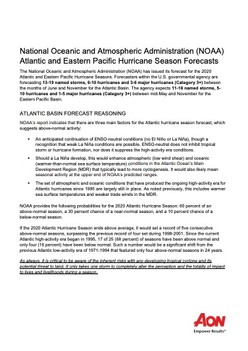 National Oceanic and Atmospheric Administration (NOAA) Atlantic and Eastern Pacific Hurricane Season Forecasts
