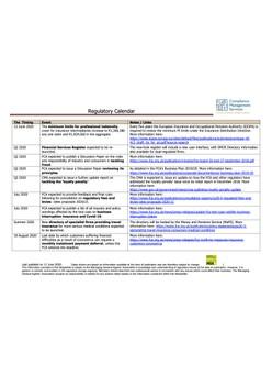 Regulatory Calendar - updated 11 June 2020