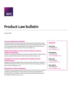 Product Law bulletin - August 2020