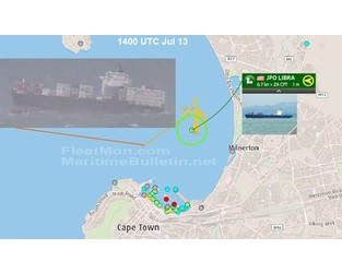 MAERSK container ship anchor fouled, can't shelter from storm, Cape Town - FleetMon