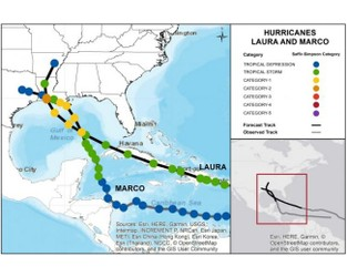 Forecasting Two Storms in the Gulf; Marco and Laura on a Path Toward the US Coast