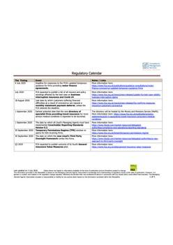 Regulatory Calendar - 3 July 2020