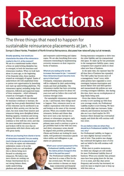 The three things that need to happen for sustainable reinsurance placements at Jan. 1 - Reactions