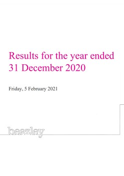 Results for the year ended 31 December 2020