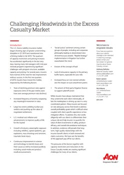 Challenging Headwinds in the Excess Casualty Market